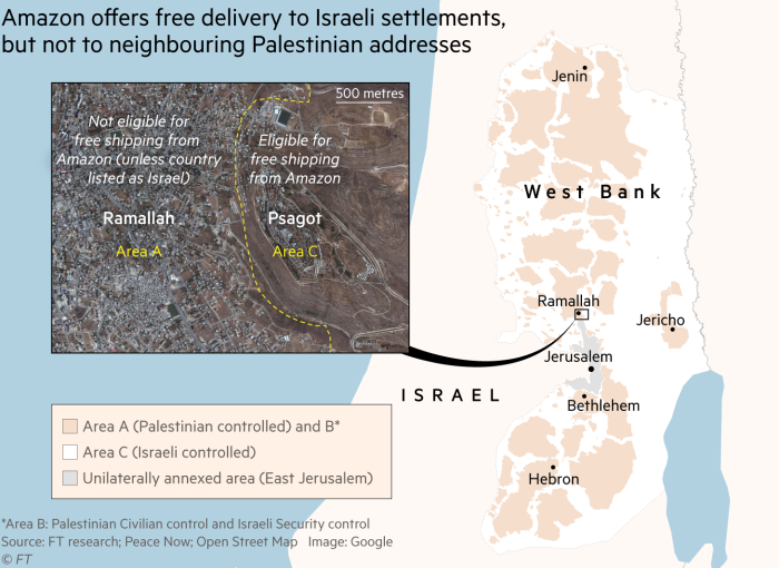 Amazon accorde la livraison gratuite aux colons, et contraint les Palestiniens à se définir comme Israéliens