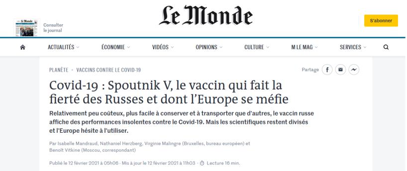 En rejetant le vaccin russe, l'UE fait primer l'idéologie sur la santé publique